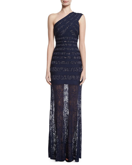 Herve Leger Karin One-Shoulder Lace Bandage Gown
