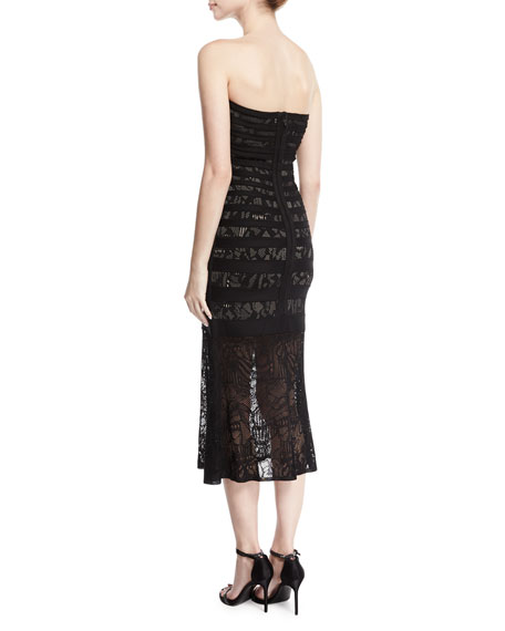 Pailey Strapless Lace Bandage Midi Dress