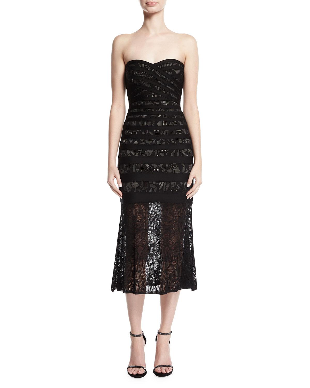 Herve Leger Pailey Strapless Lace Bandage Midi Dress   Neiman Marcus