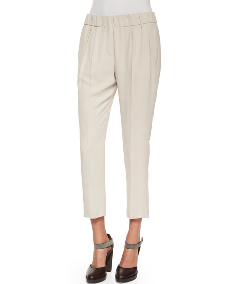 Brunello Cucinelli Pleated Crepe Cropped Pants, Stone