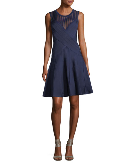 Herve Leger Pico-Trim Pointelle Fit & Flare Dress