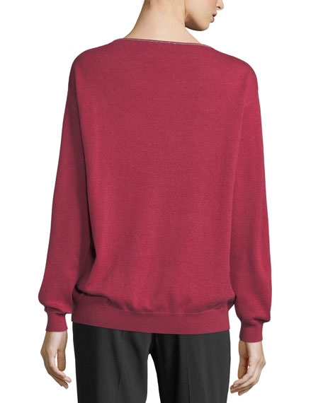 Cashmere Monili-Trim Boat-Neck Sweater