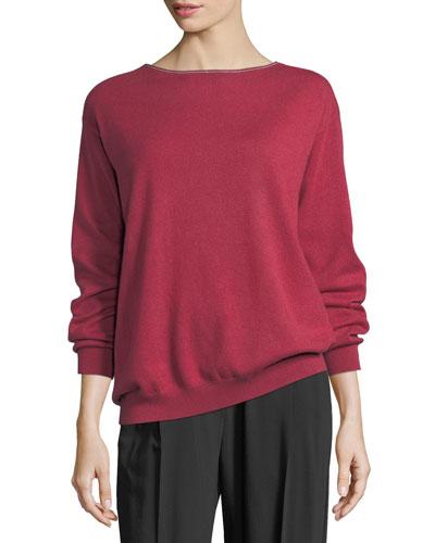 Cashmere Monili-Trim Boat-Neck Sweater