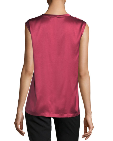 Satin Monili-Trim V-Neck Top