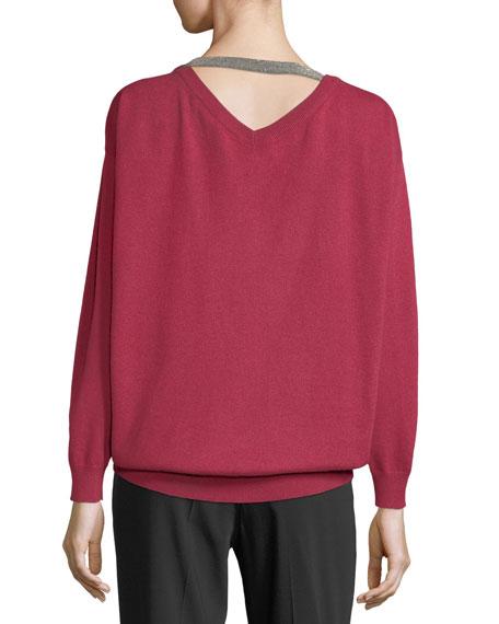 Cashmere V-Neck Monili-Strap Sweater