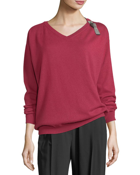 Brunello Cucinelli Cashmere V-Neck Monili-Strap Sweater