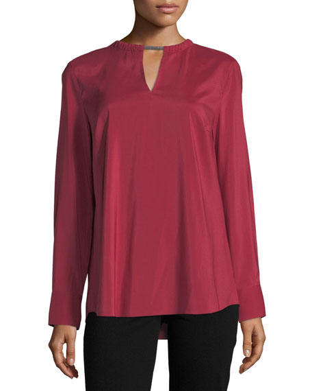 Brunello Cucinelli Stretch-Silk Top with Monili Necklace