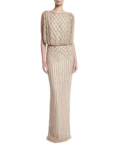 Yuliya Embellished Capelet Gown