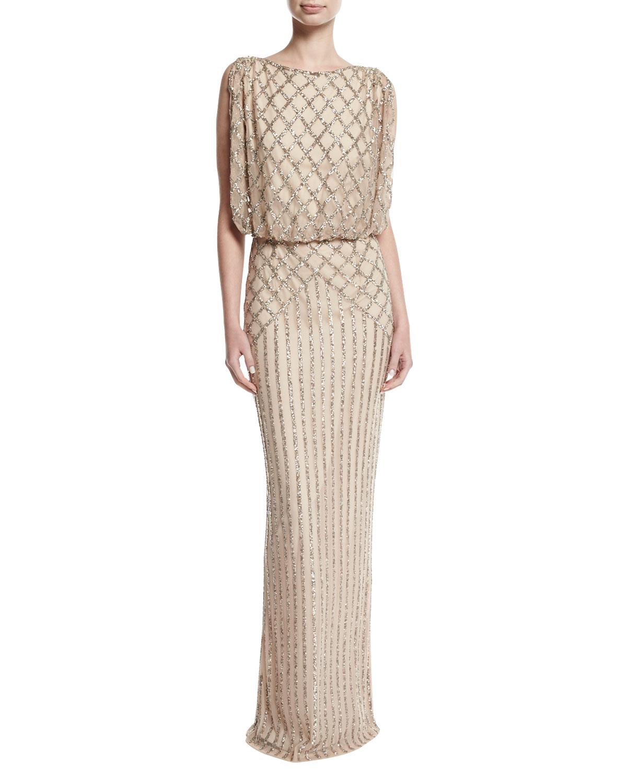 Rachel Gilbert Yuliya Embellished Capelet Gown | Neiman Marcus