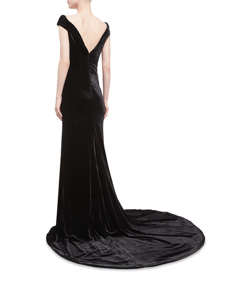 Violetta Velvet Off-the-Shoulder Gown
