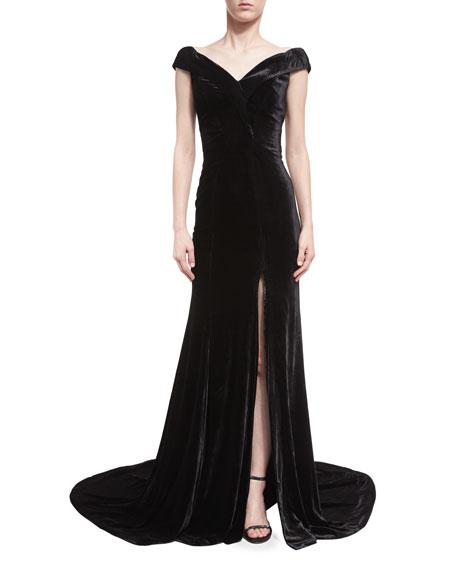 Rachel Gilbert Violetta Velvet Off-the-Shoulder Gown