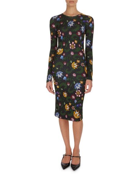 Erdem Eileen Floral Jersey Midi Dress