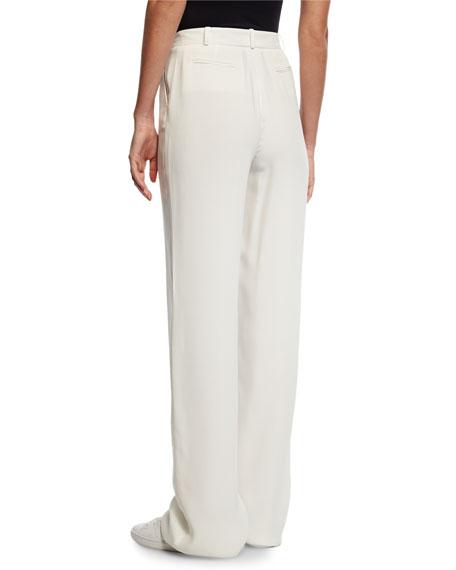 Lawrence Matte Silk Pants, White