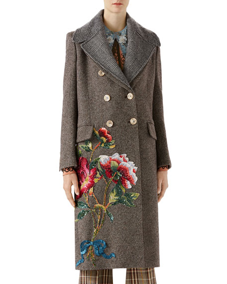 Gucci Sequin Embroidered Wool Coat
