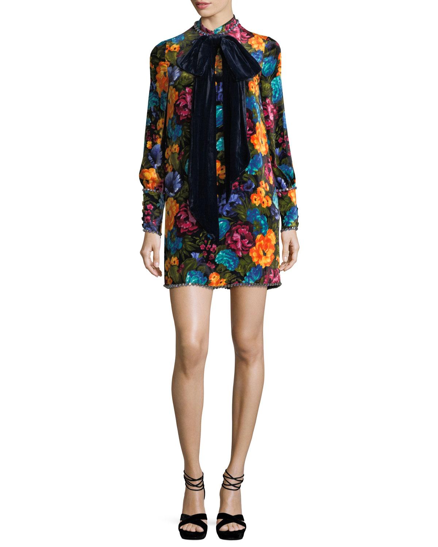 Pictorial Flowers Velvet Dress With Bow