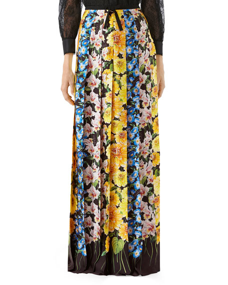 Florage Print Satin Pleated Maxi Skirt