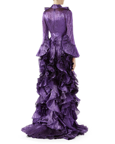 Iridescent Organdy Gown with Ruffles