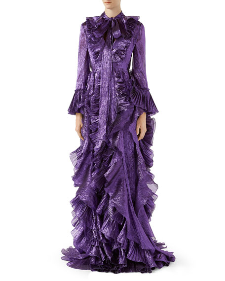 IRIDESCENT ORGANDY GOWN WITH RUFFLES, PURPLE