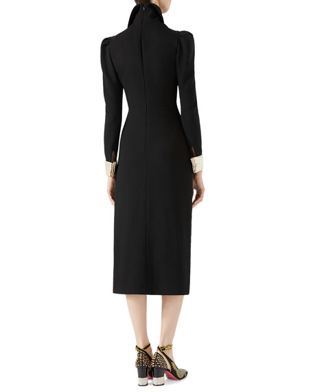 Wool Dress with Asymmetric Flounce
