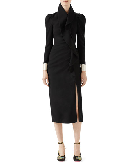 Gucci Wool Dress with Asymmetric Flounce