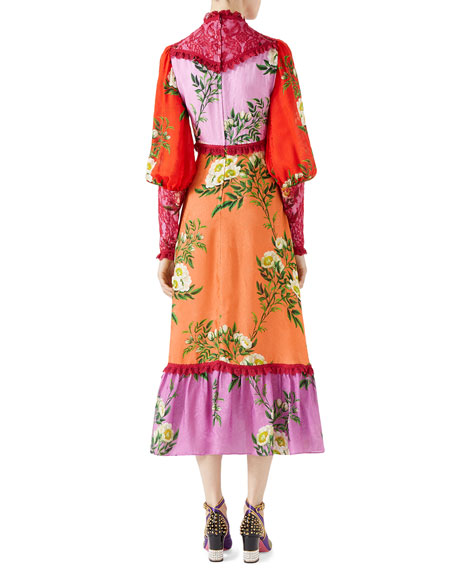 Rose Branches Printed Flower Jacquard Dress