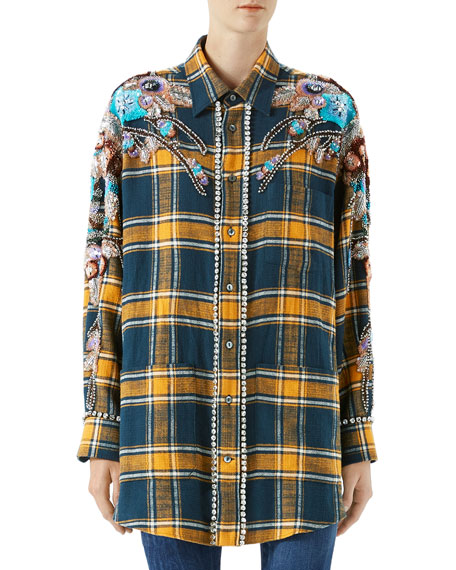 Gucci Embroidered Plaid Oversize Shirt and Matching Items