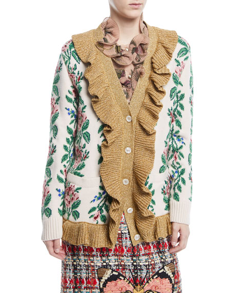 Gucci Intarsia Jacquard Flowers Wool Cardigan and Matching