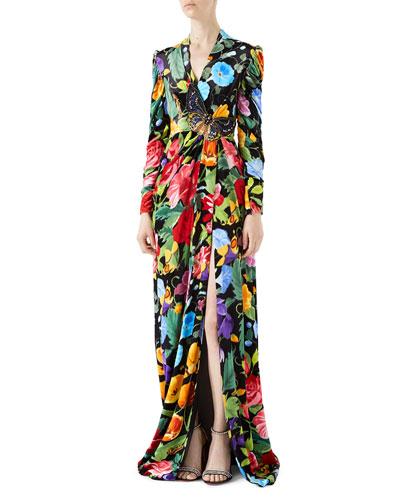 Velvet Gown with Chine de Fleurs Print