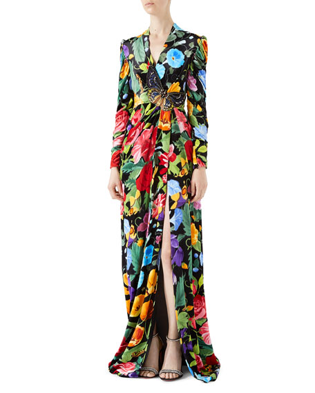 Velvet Gown with Chine de Fleurs Print