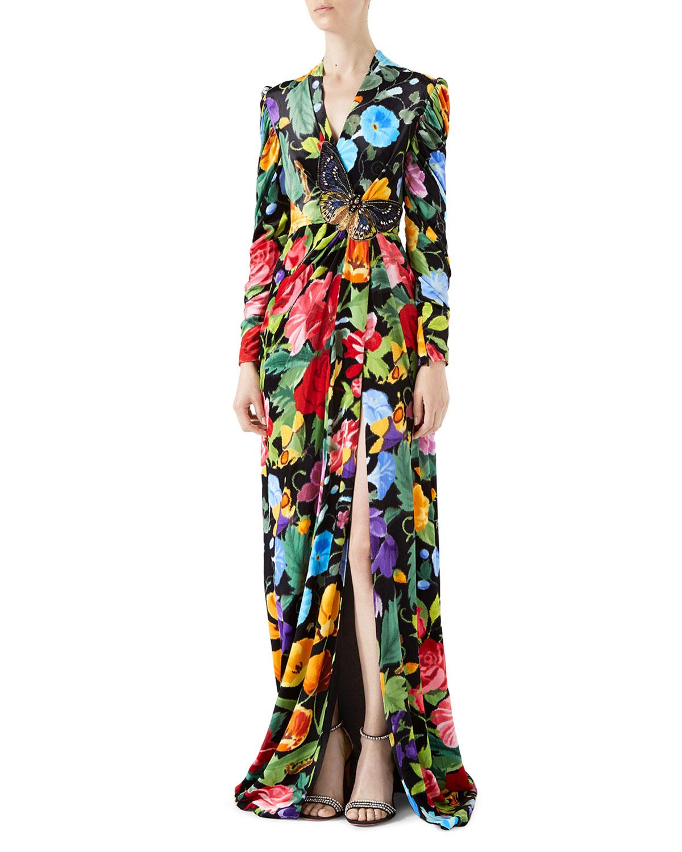 Gucci Velvet Gown with Chine de Fleurs Print | Neiman Marcus