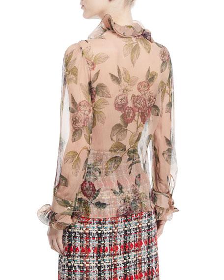 Botanical Roses Print Silk Shirt with Ruffles