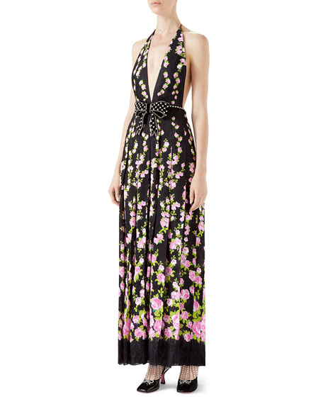 Gucci Flower Jacquard Dress with Climbing Roses Print