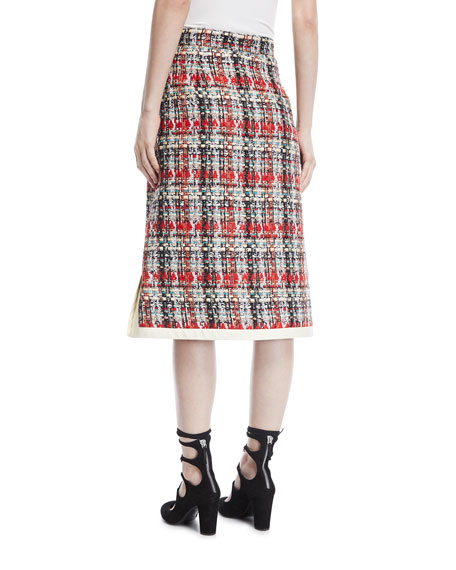 Multicolor Tweed Embroidered Skirt