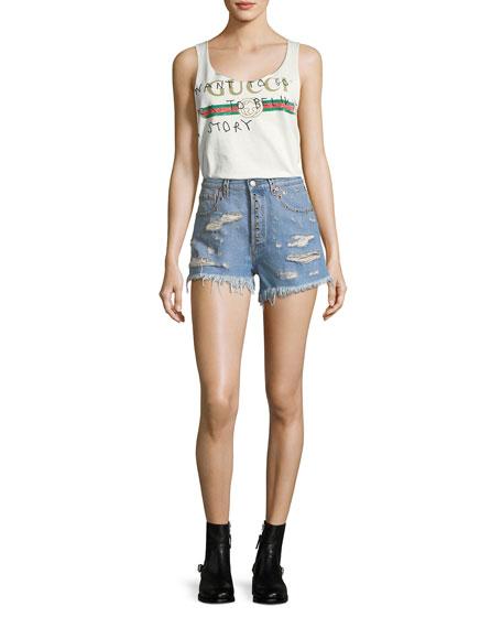 Shredded Bleached Denim Shorts