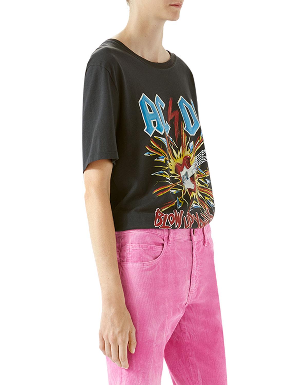 ddd68ddb4 Gucci AC/DC Print Cotton T-Shirt | Neiman Marcus