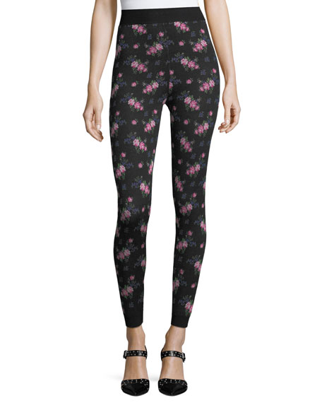 Viscose Floral Jacquard Leggings