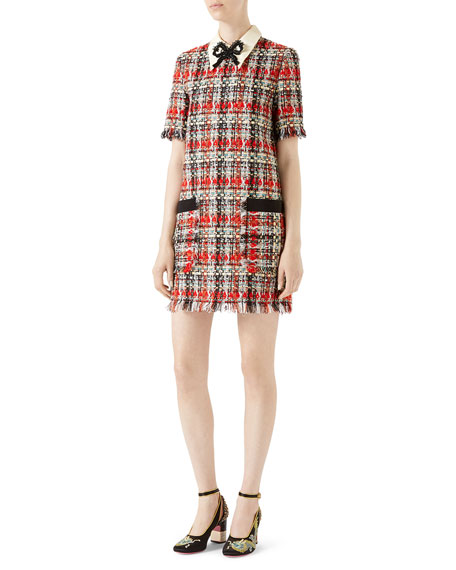 Embroidered Multicolor Tweed Dress