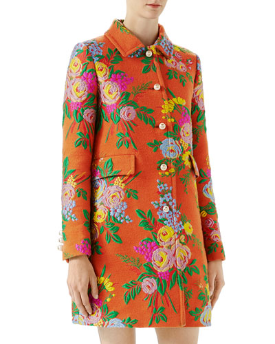Flower felted coat jacquard