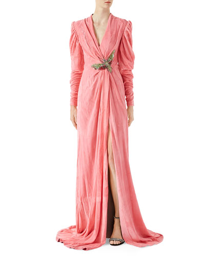 Velvet Gown with Draping