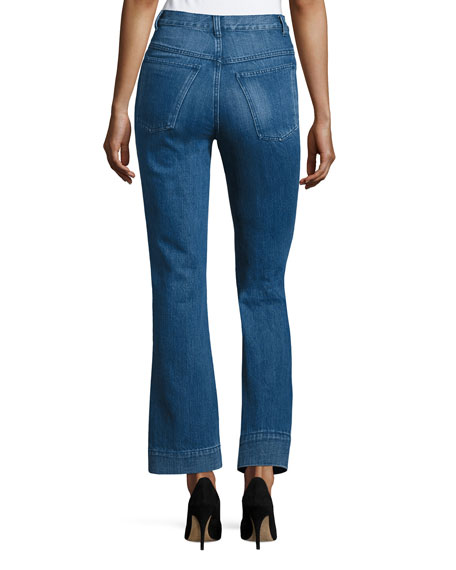 High-Waist Flare-leg Jeans, Indigo