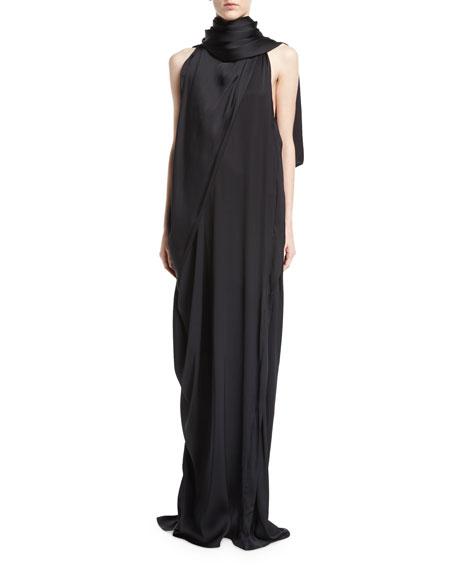 Silk Charmeuse Scarf Gown