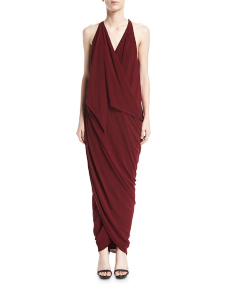 Convertible Draped Jersey Maxi Dress