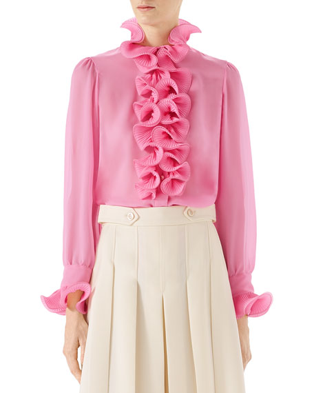 Silk Shirt with Ruffles