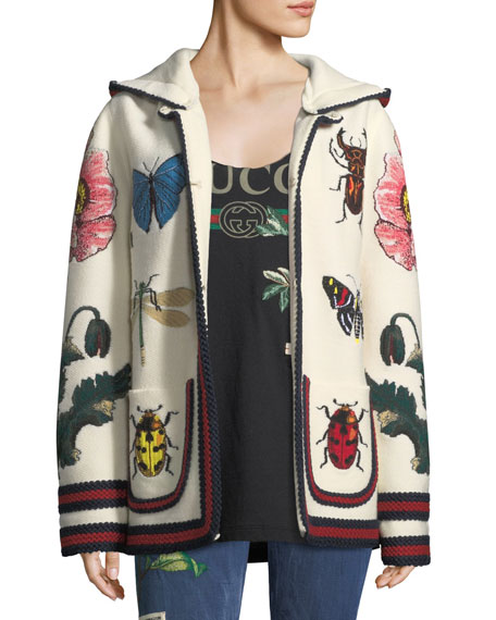 Gucci Fine Wool Cardigan with Intarsia