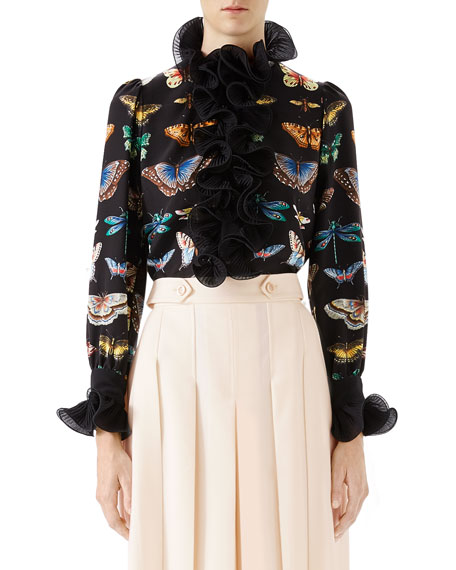Gucci Crepe de Chine Silk Shirt with Ruffles