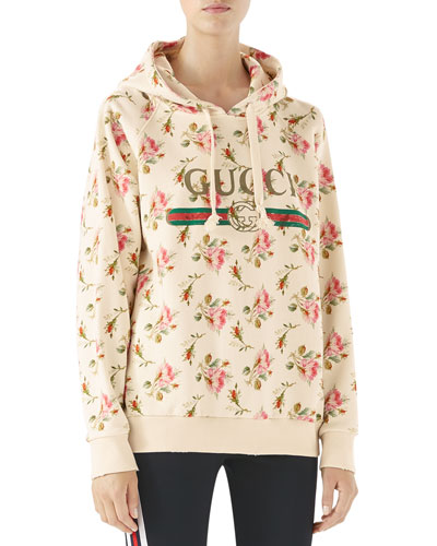 Rose print hooded Gucci swea