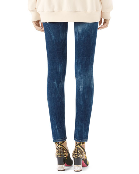 Embroidered Marbled Denim Skinny Pant