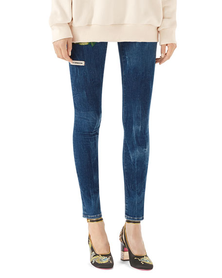 Gucci Embroidered Marbled Denim Skinny Pant