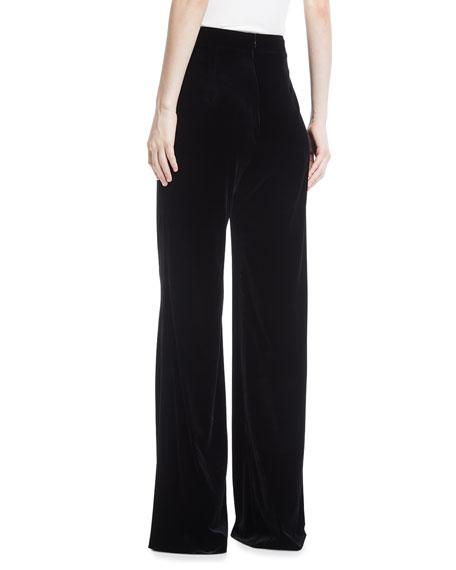 High-Waist Wide-Leg Velvet Pants