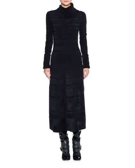 Agnona Split-Neck Chenille Midi Dress